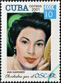 CUBA - CIRCA 2001: a stamp printed in Cuba dedicated to the forgotten oscar award shows Ava Gardner