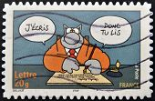FRANCE - CIRCA 2005: A stamp printed in France shows Cat designed by Geluck that says