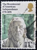 UNITED KINGDOM - CIRCA 1976: A stamp printed in Great Britain shows Benjamin Franklin circa 1976