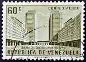 A stamp printed in Venezuela shows Simon Bolivar Centre Caracas