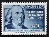 ARGENTINA - CIRCA 1956: A stamp printed in Argentina shows Benjamin Franklin circa 1956