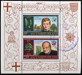 Stamps printed in Ascension Island shows Sir Winston Churchill