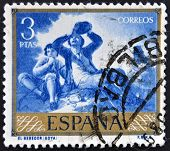 SPAIN - CIRCA 1958: A stamp printed in Spain shows paintings The Drinker by Francisco de Goya circa