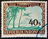 INDONESIA - CIRCA 1947: A stamp printed in Indonesia shows a airplane and palm trees circa 1947