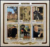 COOK ISLANDS - CIRCA 1974: Collection stamps printed in Aitutaki shows sir Winston Churchill circa 1