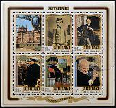 COOK ISLANDS - CIRCA 1974: Collection stamps printed in Aitutaki shows sir Winston Churchill circa 1