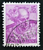 ITALY - CIRCA 1961: stamp printed in Italy shows designs of Michelangelo's Sistine Chapel Joel circa