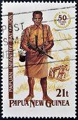 PAPUA NEW GUINEA - CIRCA 1992: A stamp printed in Papua shows papuan infantry battalion circa 1992