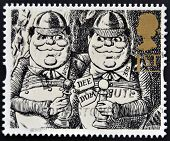 UNITED KINGDOM - CIRCA 1993: A stamp printed in Great Britain shows Tweedledum and Tweedledee (Alice