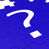 Question Mark Puzzle Shows Interrogations.