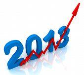 2013 Seta vermelha mostra as vendas para o ano
