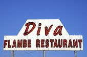 Diva Flambe Restaurant Sign