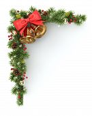 stock photo of fir  - Christmas corners from the decorated fir tree branches - JPG