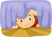 Illustration of a Boy Taking a Peek Under the Bed