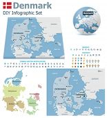 Denmark maps with markers