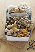 picture of chanterelle mushroom  - Assorted mushroom in basket on table elevated view - JPG