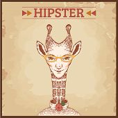 hipster animal charcter, giraffe