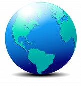 North, South America, Europe, Africa Global World In Space