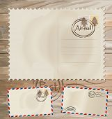 Vector set: Vintage postcard designs, envelope and postage stamps.