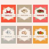 vegetables set labels, garlic, tomato, potato, onion, chilly, pepper