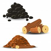 image of firewood  - Firewood Wood Chips and Coal - JPG
