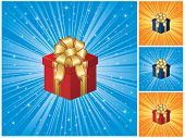 Gift box on blue background