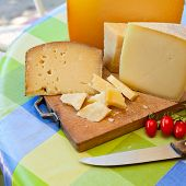 Pecorino sardo cheese slices on wooden board