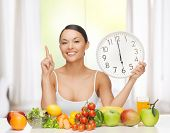 healthy food and diet - happy woman with fruits and vegetables