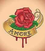 Old-school styled tattoo of a red rose, golden banner and fresh blood. Editable vector illustration.