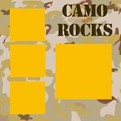 picture of camo  - camouflage frame background with words camo rocks illustration - JPG
