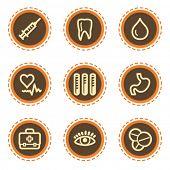 Medicine web icons set 1, vintage buttons