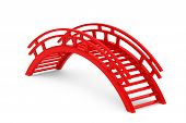 stock photo of unsafe  - Closeup 3d Red Wooden bridge on a white background - JPG