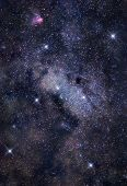 image of sagittarius  - Astronomical photograph of bright stellar cloud in Sagittarius constellation