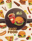 Cartoon fast-food vintage background