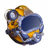 Deep sea diving helmet, isolated