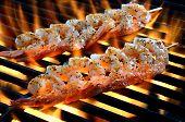 Skewered Shrimp over Flames