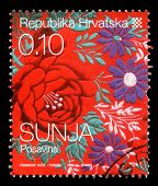 CROATIA - CIRCA 2008: stamp printed by Croatia dedicated to town Sunja, a series of Croatian Ethnogr