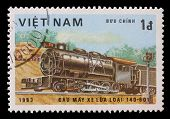 VIETNAM-CIRCA 1983: A stamp printed in the Vietnam, shows steam locomotive, Class 140-601, circa 198