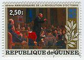 GUINEA-CIRCA 1970:A stamp printed in Guinea shows image of the Vladimir Ilyich Lenin; born Vladimir Ilyich Ulyanov, was a Russian communist revolutionary,politician and political theorist,circa 1970.