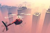 picture of rescue helicopter  - Civilian helicopter  on a background a city - JPG