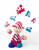 3D Render Of A Cute Love Sign Juggled By A Clown