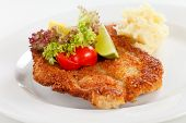 picture of pork cutlet  - schnitzel with potatoes - JPG