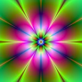 stock photo of neon green  - Digital abstract fractal image with a neon flower design in yellow green blue and pink - JPG