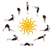 image of namaskar  - Indian man in black costume doing ten steps of surya namaskar sun salutation Exercise at white background with the sun in the center - JPG