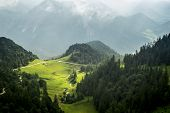 A view from the Herzogstand in the Alps of Bavaria Germany