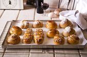 Challah in different shapes and sizes