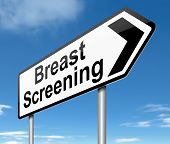 pic of mammogram  - Illustration depicting a sign directing to Breast Screening - JPG