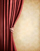 Vintage background with red old curtain and hand. Vector illustration.