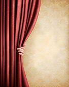Fondo vintage con cortina vieja roja y de la mano. Ilustración del vector.