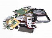 Broken cell phone in pieces